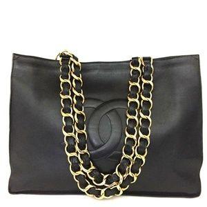 Auth Chanel Cc Logo Lambskin Chain Large #2201C86